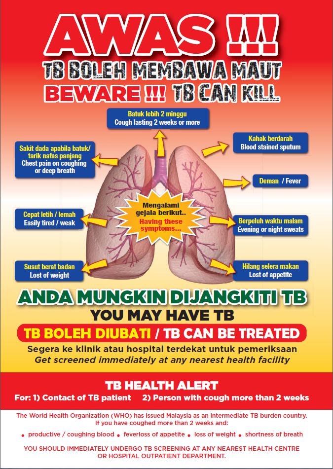 Penyakit TB boleh membawa maut. Dapatkan rawatan segera jika mengalami gejala-gejala awal Tuberkolosis.